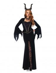 Böse Fee Halloween-Damenkostüm Märchen schwarz-gold