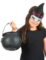 Halloween Kindermaske Hexe mit Pailletten schwarz-lila