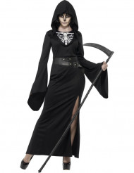 Skelett Sensenfrau Damen-Kostüm schwarz-weiß