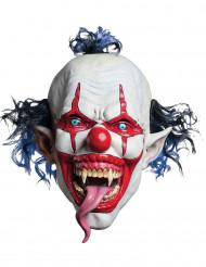 Schauriger Horror-Clown Halloween-Maske weiss-blau-rot