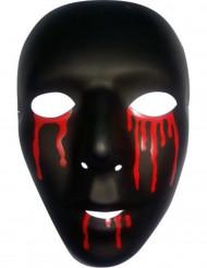 Schwarze Maske mit Blut für Herren Halloween schwarz