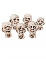 Halloween-Dekoration Zombie-Köpfe beige 8 x 5 cm