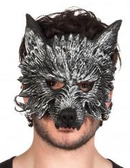 Werwolfmaske Halbmaske Halloween Kostümaccessoire grau 28cm lang