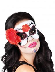 Augenmaske Tag der Toten mit Rosen und Ranken bunt