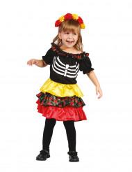 Dia de los Muertos Skelett-Mädchen Halloween Kinderkostüm bunt