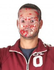 Blutige Halbmaske Halloween transparent-rot