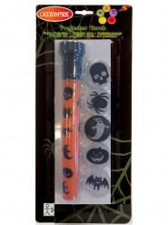 Halloween-Taschenlampe mit verschiedenen Aufsätzen orange-schwarz