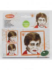 Vampir Halloween Make-up Kit für Kinder mit Pinsel 4-teilig weiss-grau-schwarz