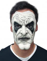 Latex-Maske Halloween-Harlekin weiss-schwarz