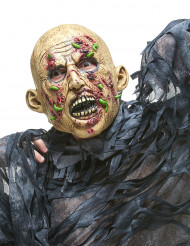 Zombie-Maske mit Maden Halloween Kostümaccessoire hautfarben-rot-grün