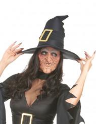 Halloween-Halbmaske Hexenmaske mit Falten hautfarbe-grau-schwarz