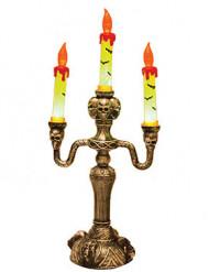 Halloween-Kerzenleuchter mit Totenschädeln gold-gelb-orange 40cm