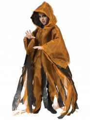 Schwarz/orange Umhang mit Kapuze für Kinder Halloween orange