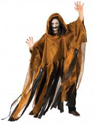 Schwarz/oranger Umhang mit Kapuze für Erwachsene Halloween orange