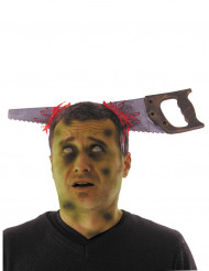Halloween-Haarreif mit Säge Horror-Accessoire silber-rot