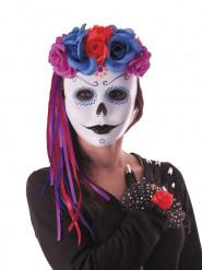Tag-der-Toten-Stirnband Rosen blau-violett-rot