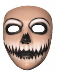 Grinsender Clown Gesichtsmaske Halloween weiss-schwarz