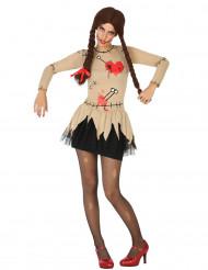 Voodoo-Puppe Halloween-Damenkostüm schwarz-beige