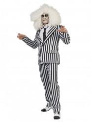 Lustiger Geist im Streifenanzug Halloween Kostüm für Herren schwarz-weiss