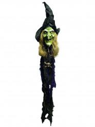 Halloween-Dekoration Hexenkopf Animiert bunt 150 cm