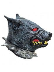Grimmiger Wachhund Halloween-Maske grau-rot