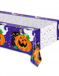 Tischdecke Halloween Dekoration Happy Kürbis weiss-bunt 213 x 137 cm