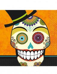 Halloween-Servietten Dia de los Muertos-Partyservietten 16 Stück orange-weiss-bunt 12,5x12,5cm