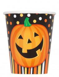 Halloween Pappbecher Kürbis Becher 8 Stück orange-schwarz
