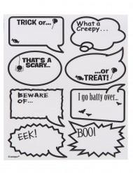 Halloween-Sticker Sprechblasen-Sticker für Trinkgläser 16 Stück transparent-schwarz