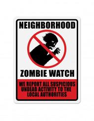 Zombie-Warnschild Halloween-Deko schwarz-rot-weiss 43x33cm