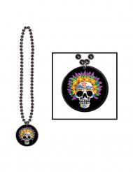 Dia de los Muertos Halskette Halloween-Schmuck schwarz-bunt 42cm