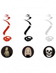 Gruselige Hängespiralen Halloween-Partydeko 3 Stück schwarz-beige-weiss 60cm