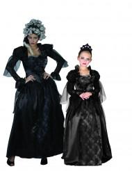 Elegantes Mutter-Tochter Vampirin Paarkostüm schwarz-violett