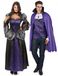Elegantes Vampir König und Königin Paarkostüm lila-schwarz