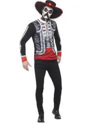 Skelett Herren-Kostüm Tag der Toten schwarz-bunt
