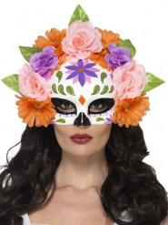 Tag der Toten Halbmaske mit Rosenschmuck bunt