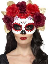 Dia de los Muertos Damenmaske mit Rosen bunt