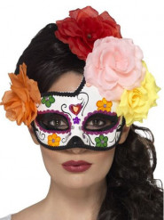 Maske mit Rosen Dia de los Muertos bunt