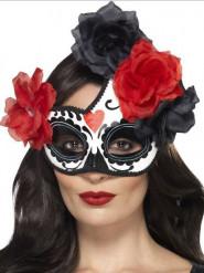Dia de los Muertos Augenmaske mit Rosen Halloween-Accessoire schwarz-weiss-rot
