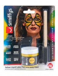 Flüssiglatex Halloween-Schminke mit Schwamm gelb 59ml