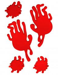 Blut-Handabdrücke und Blutspritzer Halloween-Fensterdeko rot