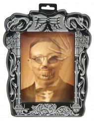 Gruseliges Hologrammbild Skelett Halloween-Deko grau-braun 19x25cm