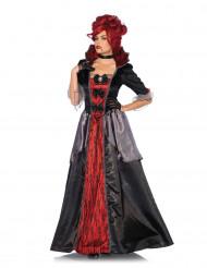 Barock-Vampirin Halloween-Damenkostüm schwarz-rot-grau