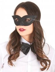 Glitzemaske schwarz für Damen