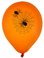 Spinnen Luftballons Halloween Raum-Deko 8 Stück orange-schwarz 23cm
