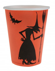 Halloween-Pappbecher Hexen-Becher 10 Stück orange-schwarz 9,5cm