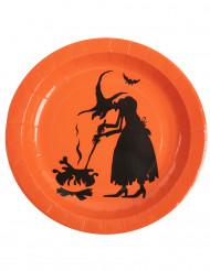 Halloween-Pappteller Hexen-Teller 10 Stück orange-schwarz 22cm.