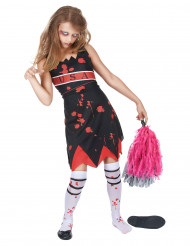 Zombie Cheerleaderin Halloween Mädchenkostüm schwarz-weiss-rot