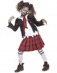 Zombie Highschool-Schülerin Halloween-Kinderkostüm schwarz-weiss-rot