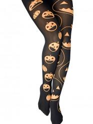 Nachtleuchtende Strumpfhose mit Kürbissen Halloween schwarz-bunt